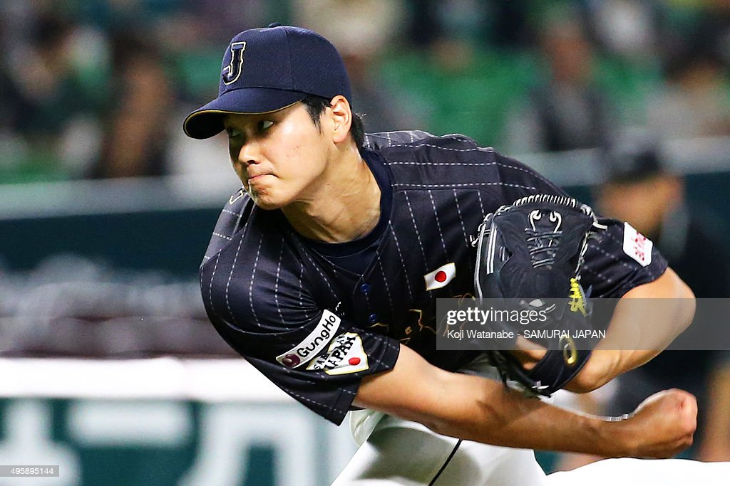Shohei Otani of Japan pitches in the bottom half of the fifth inning during the sendoff friendly match for WBSC Premier 12 between Japan and Puerto...
