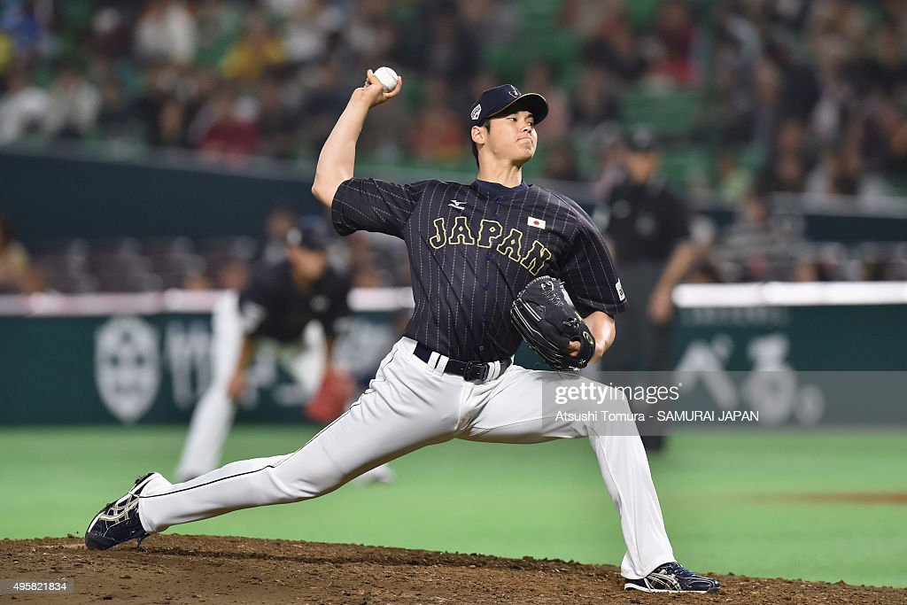 Shohei Otani of Japan pitches in the bottom half of the forth inning during the sendoff friendly match for WBSC Premier 12 between Japan and Puerto...