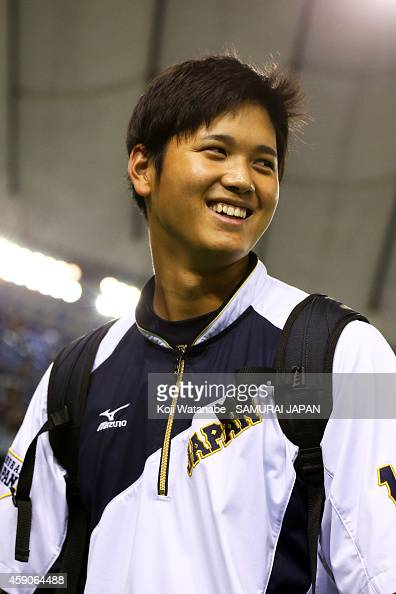 Shohei Otani of Samurai Japan smiles during the practice prior to the game four of Samurai Japan and MLB All Stars at Tokyo Dome on November 16 2014...