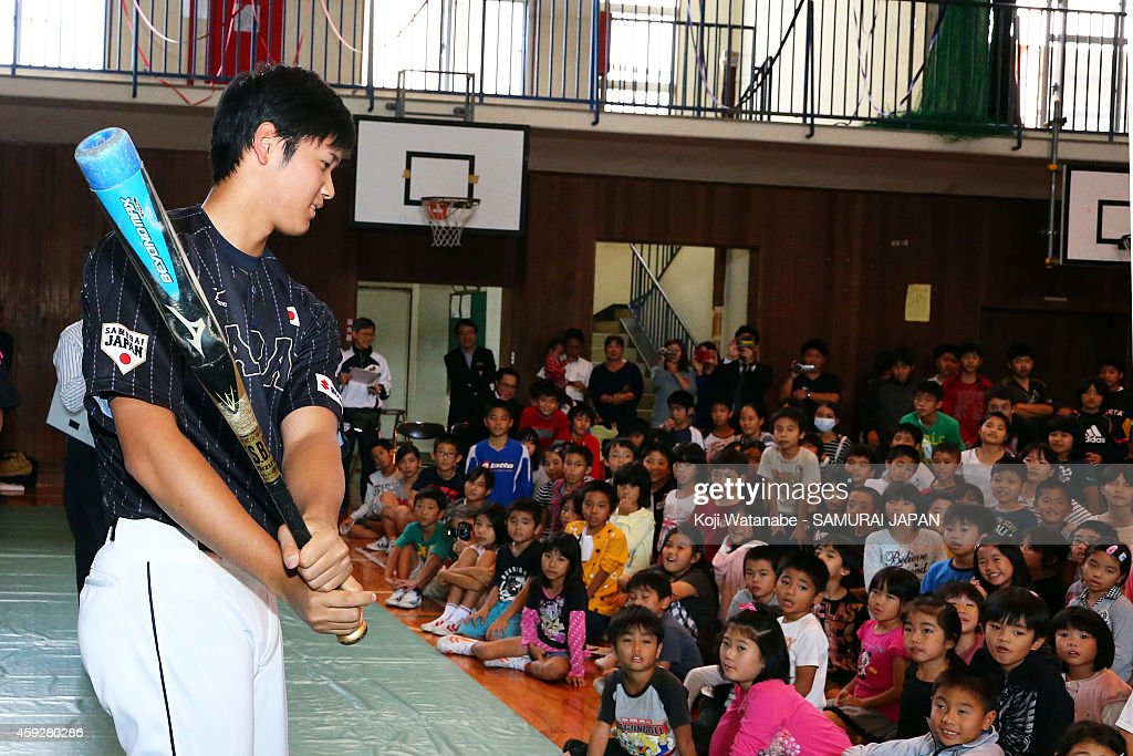 Shohei Otani of Samurai Japan visit at A Naha school prior to the exhibition game between Samurai Japan and MLB All Stars at Okinawa Cellular Stadium...