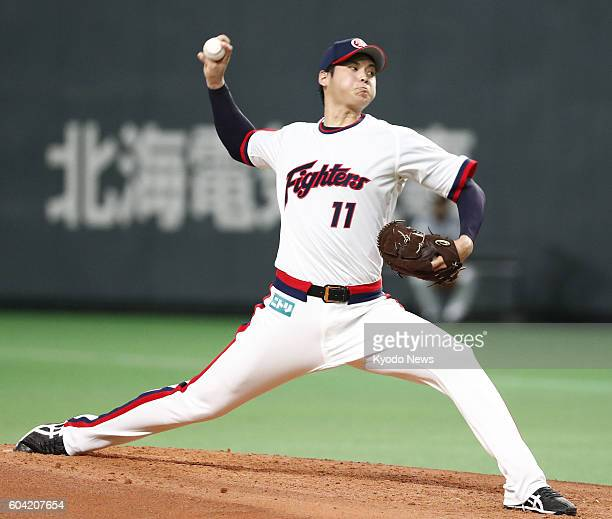 Shohei Otani of the Nippon Ham Fighters rewrites his own record for the fastest pitch recorded in Japan by touching 164 kilometers per hour in the...