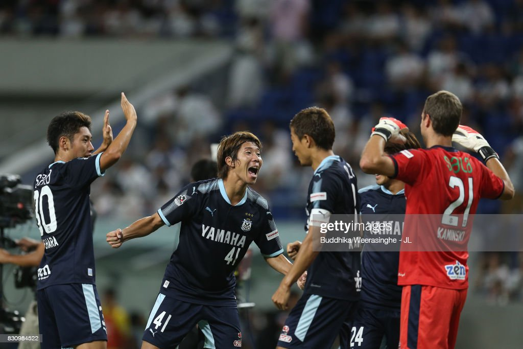 Shohei Takahashi (2nd L) and Jubilo Iwata players celebrate their 2-0 victory in the J.League J1 match between Gamba Osaka and Jubilo Iwata at Suita City Football Stadium on August 13, 2017 in Suita, Osaka, Japan.