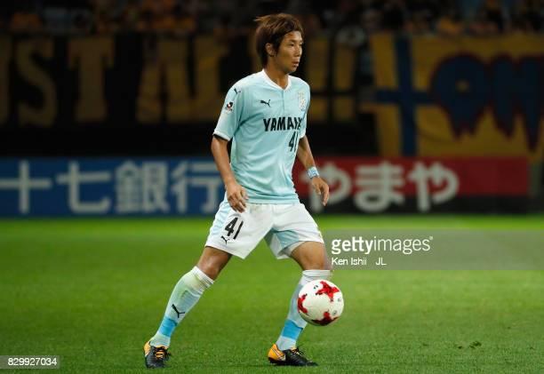 Shohei Takahashi of Jubilo Iwata in action during the JLeague J1 match between Vegalta Sendai and Jubilo Iwata at Yurtec Stadium Sendai on August 9...