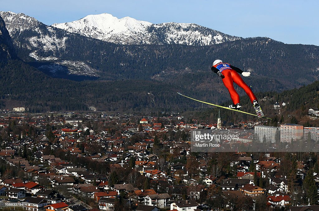 Shohei Tochimoto of Japan competes during the trial round for the FIS Ski Jumping World Cup event of the 61st Four Hills ski jumping tournament at Olympiaschanze on December 31, 2012 in Garmisch-Partenkirchen, Germany.