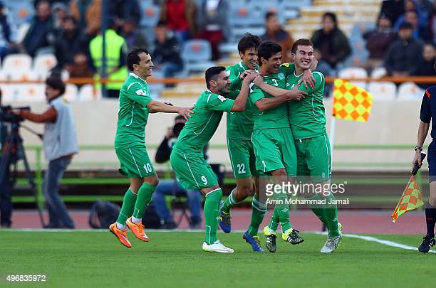 Shohrat Soyunov celebrates during match between Iran and Turkmenistan 2018 FIFA World Cup Qualifier Round 2 Group G on November 12 2015 in Tehran Iran