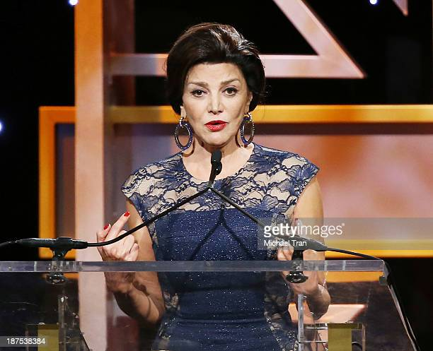 Shohreh Aghdashloo speaks onstage during the BAFTA Los Angeles Britannia Awards held at The Beverly Hilton Hotel on November 9 2013 in Beverly Hills...