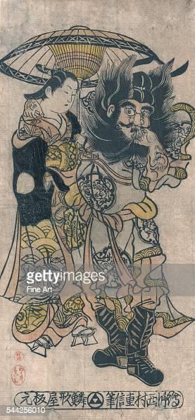 Shoki to yujo no aiaigasa Between 1726 and 1736 Woodcut color lacquer 326 x 156 cm