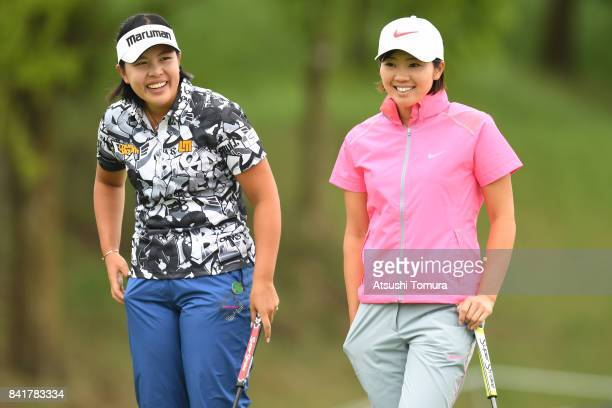 Shoko Sasaki and Rumi Yoshiba of Japan smile during the second round of the Golf 5 Ladies Tournament 2017 at the Golf 5 Country Oak Village on...