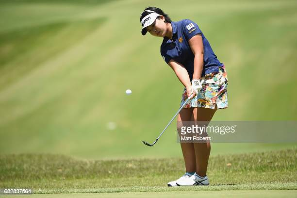 Shoko Sasaki of Japan chips onto the 15th green during the final round of the HokennoMadoguchi Ladies at the Fukuoka Country Club Wajiro Course on...