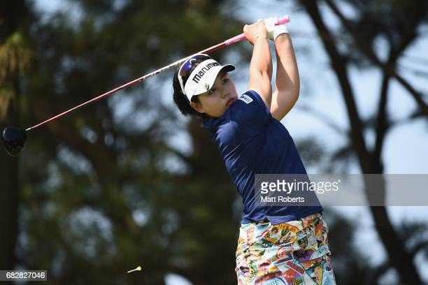 Shoko Sasaki of Japan hits her tee shot on the 3rd hole during the final round of the HokennoMadoguchi Ladies at the Fukuoka Country Club Wajiro...