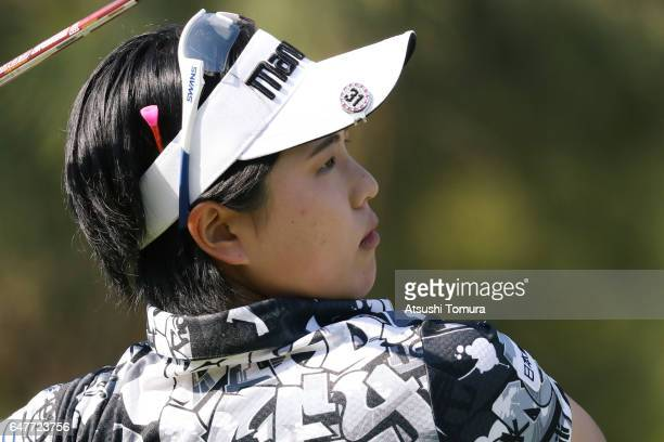 Shoko Sasaki of Japan hits her tee shot on the 4th hole during the third round of the Daikin Orchid Ladies Golf Tournament at the Ryukyu Golf Club on...