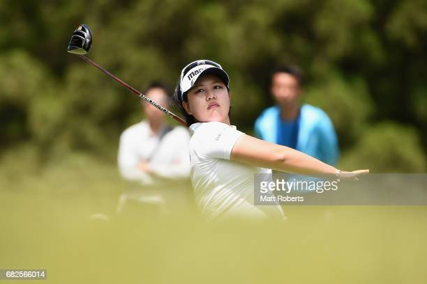 Shoko Sasaki of Japan hits her tee shot on the 4th hole during the second round of the HokennoMadoguchi Ladies at the Fukuoka Country Club Wajiro...