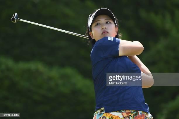 Shoko Sasaki of Japan hits her tee shot on the 7th hole during the final round of the HokennoMadoguchi Ladies at the Fukuoka Country Club Wajiro...