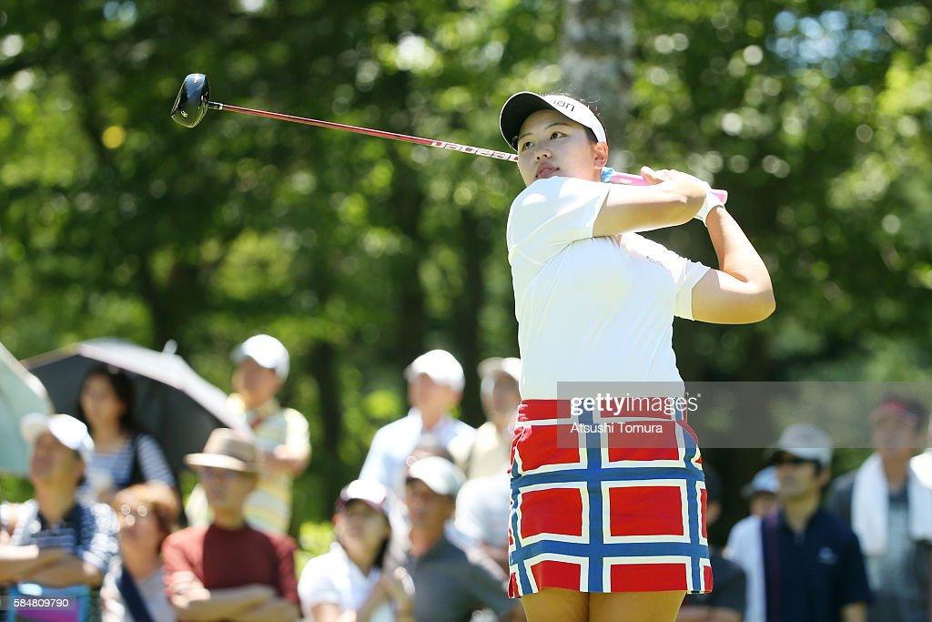 Shoko Sasaki of Japan hits her tee shot on the 9th hole during the final round of the Daito Kentaku Eheyanet Ladies 2016 at the Narusawa Golf Club on...