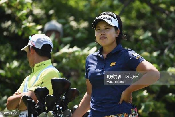 Shoko Sasaki of Japan looks on before her tee shot on the 7th hole during the final round of the HokennoMadoguchi Ladies at the Fukuoka Country Club...
