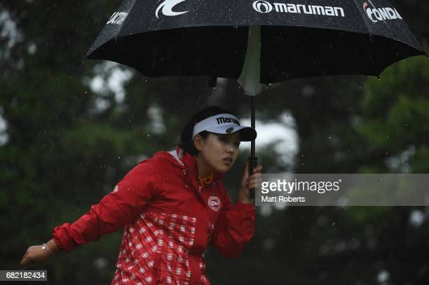 Shoko Sasaki of Japan looks on during the first round of the HokennoMadoguchi Ladies at the Fukuoka Country Club Wajiro Course on May 12 2017 in...