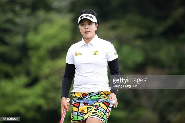 Shoko Sasaki of Japan on the 3rd hole during the first round of Fujisankei Ladies Classic at the Kawana Hotel Golf Course Fuji Course on April 21...