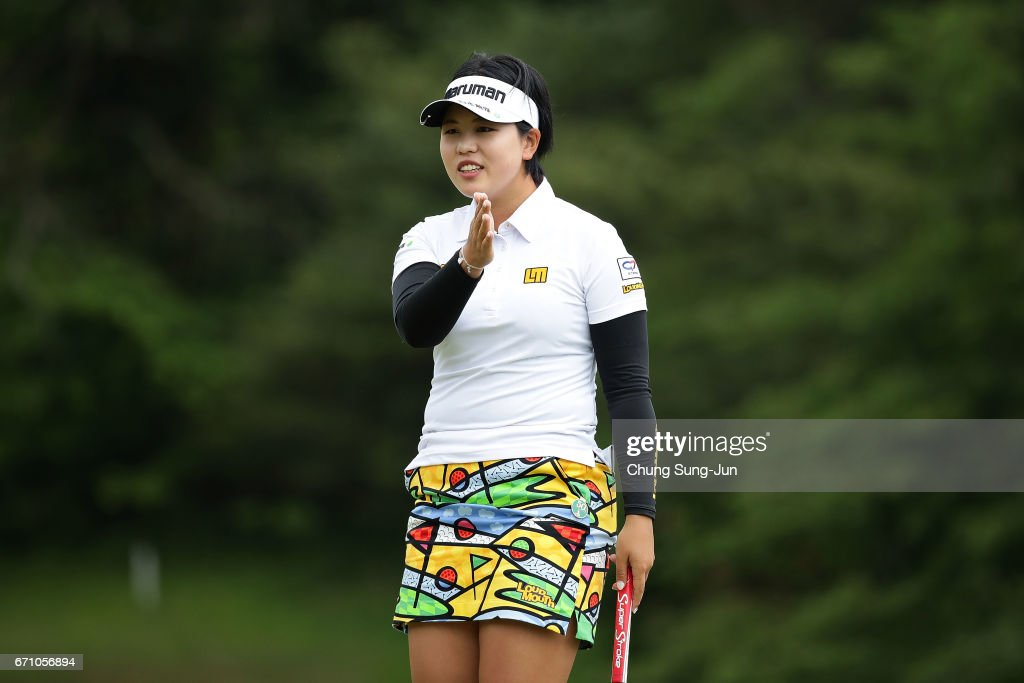 Shoko Sasaki of Japan on the 3rd hole during the first round of Fujisankei Ladies Classic at the Kawana Hotel Golf Course Fuji Course on April 21, 2017 in Ito, Japan.