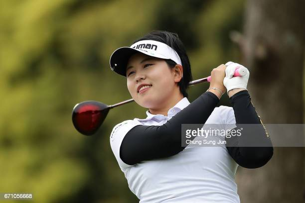 Shoko Sasaki of Japan plays a tee shot on the 3rd hole during the first round of Fujisankei Ladies Classic at the Kawana Hotel Golf Course Fuji...