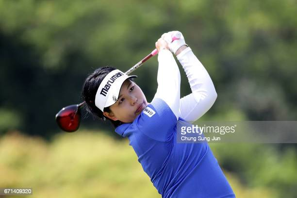 Shoko Sasaki of Japan plays a tee shot on the 5th hole during the second round of Fujisankei Ladies Classic at the Kawana Hotel Golf Course Fuji...