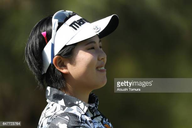 Shoko Sasaki of Japan smiles during the third round of the Daikin Orchid Ladies Golf Tournament at the Ryukyu Golf Club on March 4 2017 in Nanjo Japan