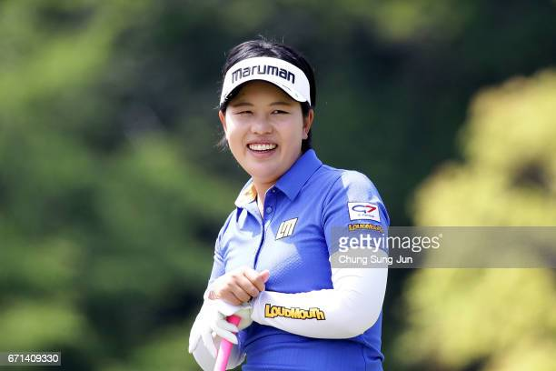 Shoko Sasaki of Japan smiles on the 5th hole during the second round of Fujisankei Ladies Classic at the Kawana Hotel Golf Course Fuji Course on...