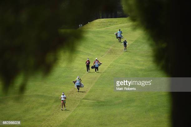 Shoko Sasaki of Japan walks the fairway on the 3rd hole during the second round of the HokennoMadoguchi Ladies at the Fukuoka Country Club Wajiro...