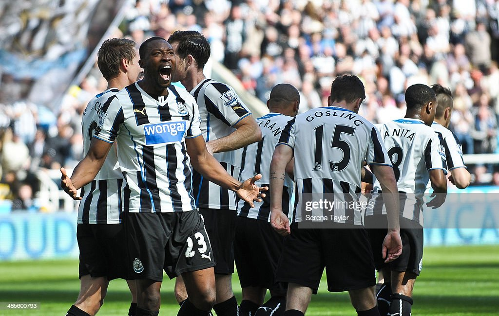 <a gi-track='captionPersonalityLinkClicked' href=/galleries/search?phrase=Shola+Ameobi&family=editorial&specificpeople=211410 ng-click='$event.stopPropagation()'>Shola Ameobi</a> (23) celebrates after scoring the opening goal during the Barclays Premier League match between Newcastle United and Swansea City at St. James' Park on April 19, 2014, in Newcastle upon Tyne, England.