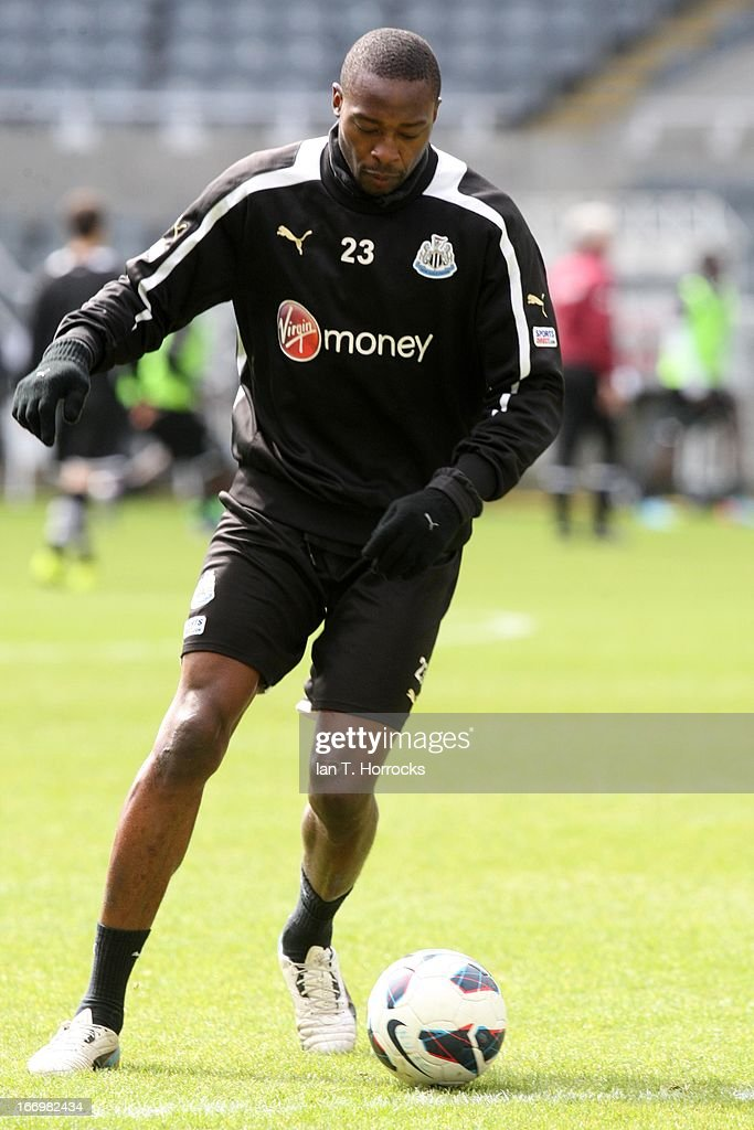 <a gi-track='captionPersonalityLinkClicked' href=/galleries/search?phrase=Shola+Ameobi&family=editorial&specificpeople=211410 ng-click='$event.stopPropagation()'>Shola Ameobi</a> in action during a Newcastle United training session at St James' Park on April 19, in Newcastle upon Tyne, England.