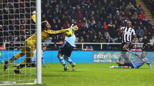 Shola Ameobi of Newcastle beats Robert Green of Queens Park Rangers to score a goal during the Barclays Premier League match between Newcastle United...