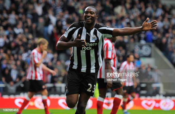 Shola Ameobi of Newcastle celebrates after scoring a goal to make it 40 during the Barclays Premier League match between Newcastle United and...