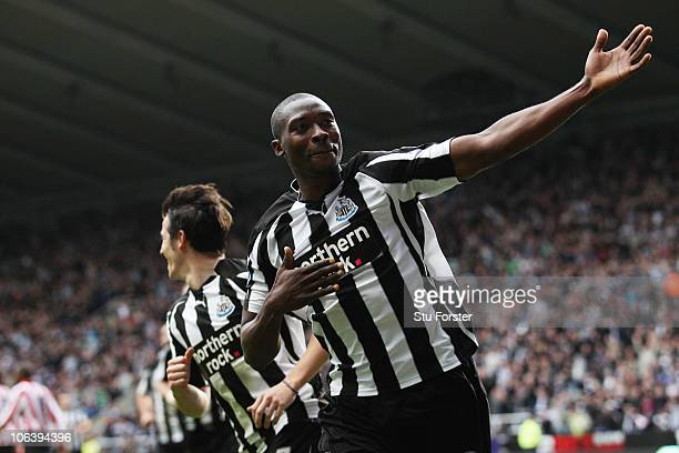 Shola Ameobi of Newcastle celebrates the third goal during the Barclays Premier League match between Newcastle United and Sunderland at St James'...