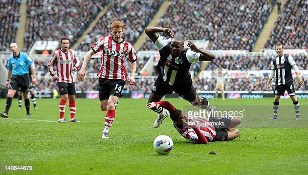 Shola Ameobi of Newcastle is brought down by Fraizer Campbell of Sunderland leading to a penalty during the Barclays Premier League match between...