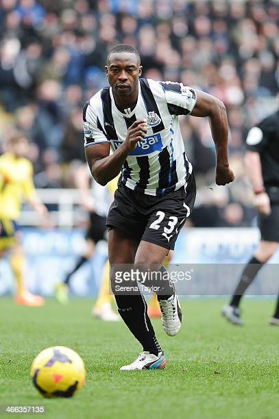 Shola Ameobi of Newcastle runs towards the ball during the Barclays Premier League match between Newcastle United and Sunderland at St James' Park on...
