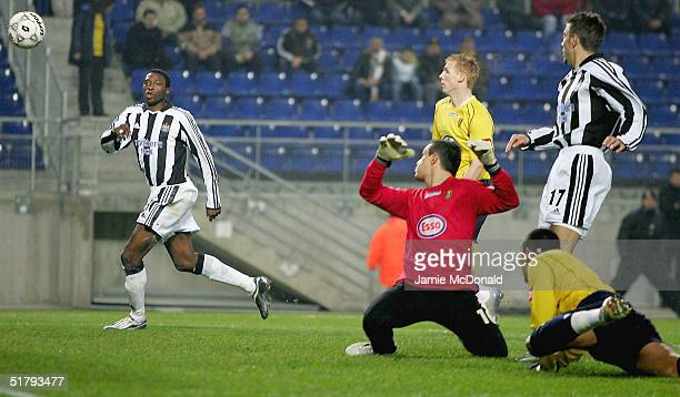 Shola Ameobi of Newcastle scores a goal during the UEFA Cup Group D match between FC Sochaux and Newcastle United at the Stade Auguste Bonal on...