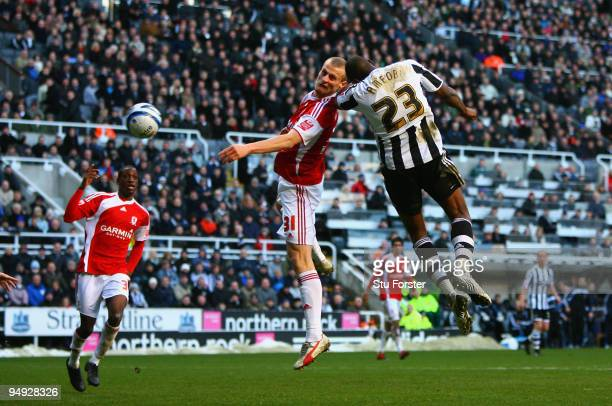 Shola Ameobi of Newcastle scores the second Newcastle goal during the CocaCola Championship match between Newcastle United and Middlesbrough at St...