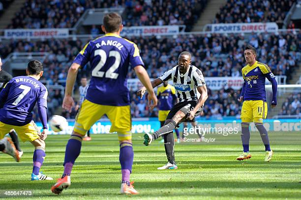 Shola Ameobi of Newcastle strikes the ball during the Barclays Premier League match between Newcastle United and Swansea City at St James' Park on...