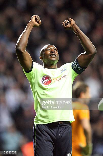 Shola Ameobi of Newcastle United celebrates scoring the opening goal during the UEFA Europa League group stage match between Newcastle United and...