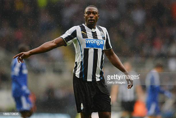 Shola Ameobi of Newcastle United in action during the Barclays Premier League match between Newcastle United and Chelsea at St James' Park on...