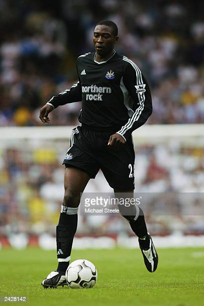 Shola Ameobi of Newcastle United running with the ball during the FA Barclaycard Premiership match between Leeds United and Newcastle United on...