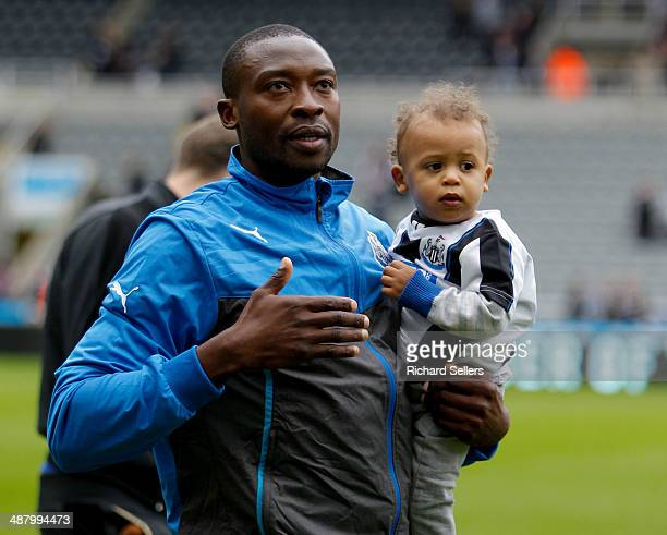 Shola Ameobi of Newcastle waves to the fans after his last home match for Newcastle after the Barclays Premier League match between Newcastle United...