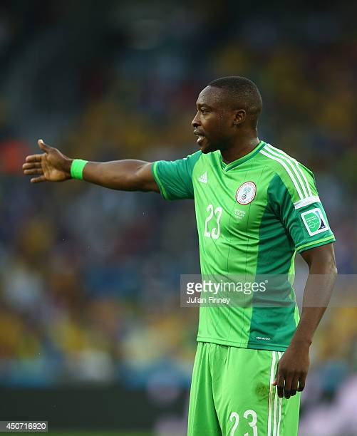 Shola Ameobi of Nigeria gestures during the 2014 FIFA World Cup Brazil Group F match between Iran and Nigeria at Arena da Baixada on June 16 2014 in...