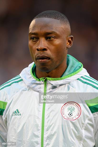 Shola Ameobi of Nigeria lines up for the national Anthems prior to an International Friendly between Scotland and Nigeria at Craven Cottage on May 28...