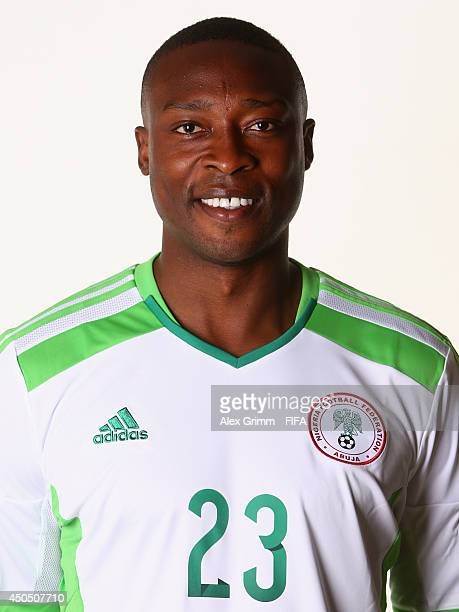 Shola Ameobi of Nigeria poses during the official FIFA World Cup 2014 portrait session on June 12 2014 in Campinas Brazil