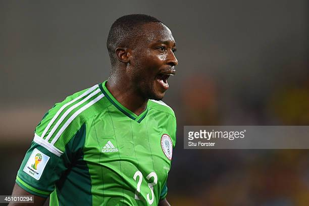Shola Ameobi of Nigeria reacts during the 2014 FIFA World Cup Group F match between Nigeria and BosniaHerzegovina at Arena Pantanal on June 21 2014...