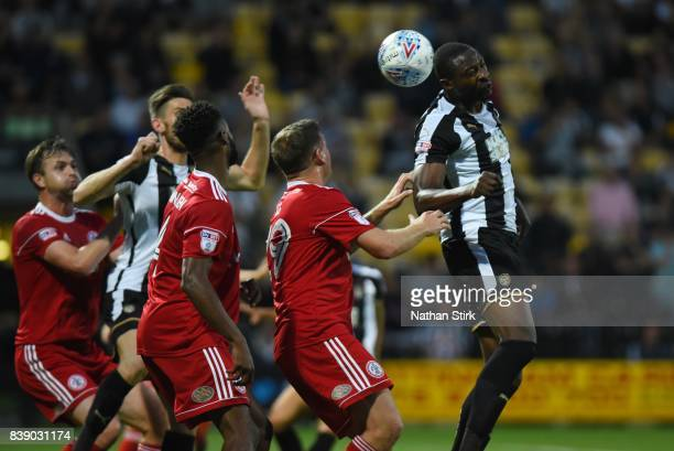 Shola Ameobi of Notts County headers the ball during the Sky Bet League Two match between Notts County and Accrington Stanley at Meadow Lane on...