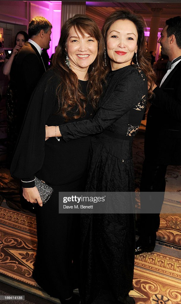 Sholpan Boranbayeva (L) and Mira Anafina attend a gala evening celebrating Old Russian New Year's Eve in aid of the Gift Of Life Foundation at The Savoy Hotel on January 13, 2013 in London, England.