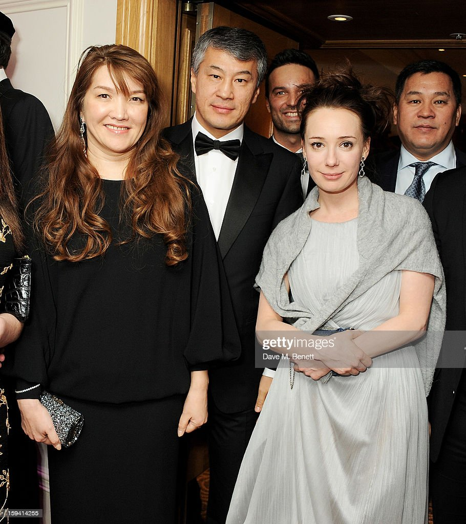 Sholpan Boranbayeva, Kairat Boranbayev and co-founder Chulpan Khamatova attend a gala evening celebrating Old Russian New Year's Eve in aid of the Gift Of Life Foundation at The Savoy Hotel on January 13, 2013 in London, England.