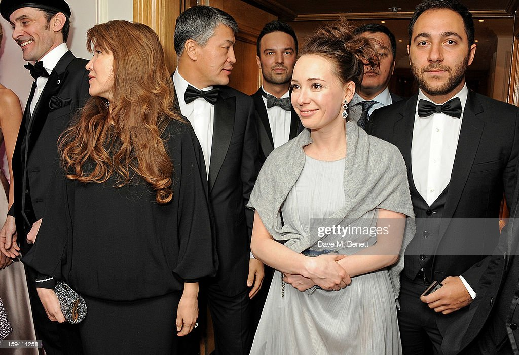 Sholpan Boranbayeva, Kairat Boranbayev, co-founder Chulpan Khamatova and guest attend a gala evening celebrating Old Russian New Year's Eve in aid of the Gift Of Life Foundation at The Savoy Hotel on January 13, 2013 in London, England.