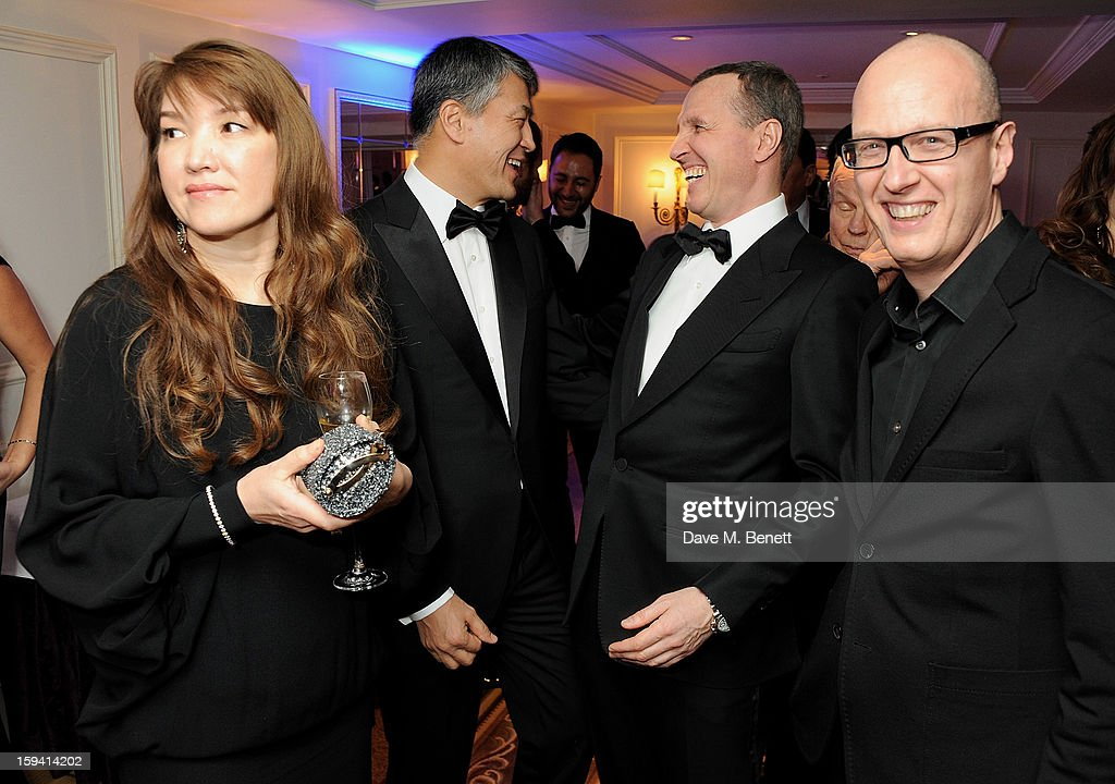 Sholpan Boranbayeva, Kairat Boranbayev, Igor Vernik, and guest attend a gala evening celebrating Old Russian New Year's Eve in aid of the Gift Of Life Foundation at The Savoy Hotel on January 13, 2013 in London, England.